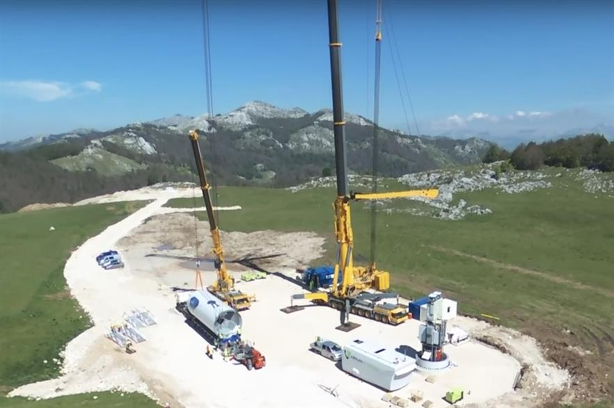 Construction of the Krnovo wind farm (above) took place last year. It was completed in November