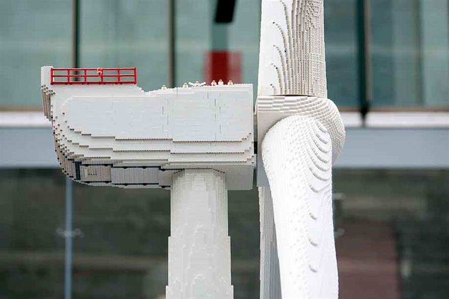 Play time… Lego's record-breaking turbine stands 7.5 metres tall and required 146,000 bricks to complete.
