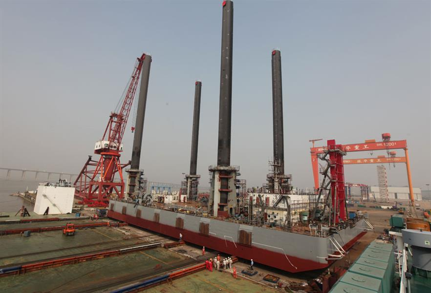 Offshore Installer… One of Longyuan's two self-hoisting crane vessels