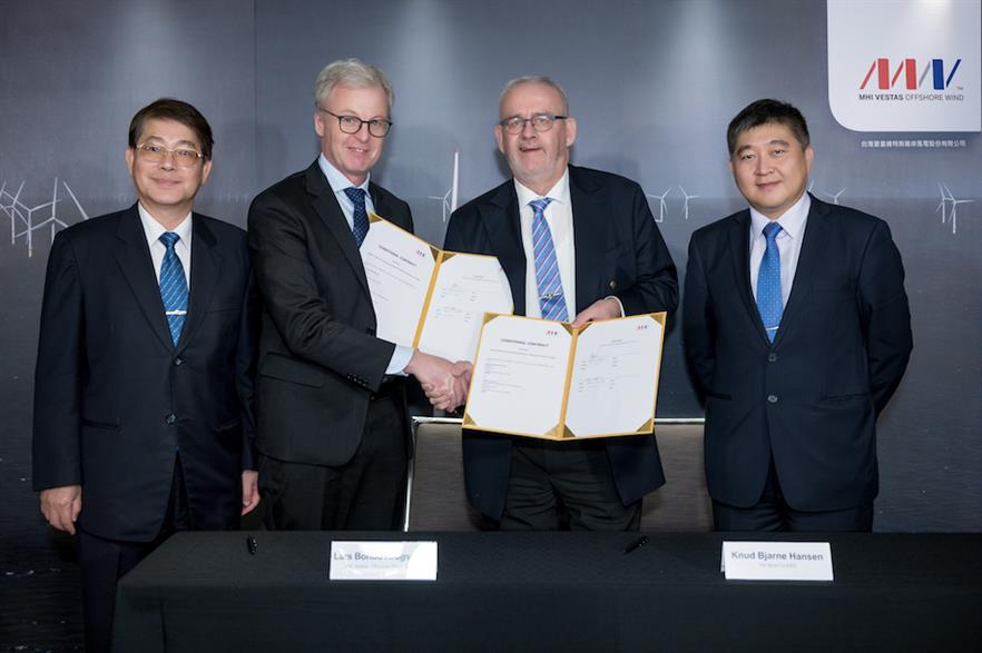 MHI Vestas co-CEO Lars Bondo Krogsgaard and CS Wind co-CEO Knud Bjarne Hansen (centre-left and -right respectively) after signing the agreement