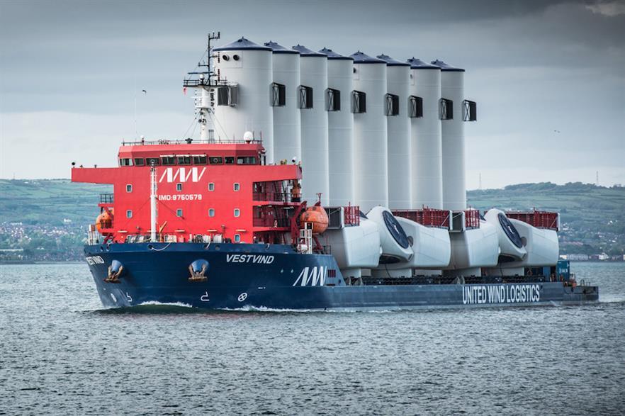 UWL vessel Vestvind transporting components for MHI Vestas