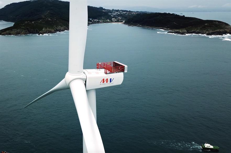An MHI Vestas V164-8.4MW turbine at the WindFloat Atlantic project off the coast of Portugal
