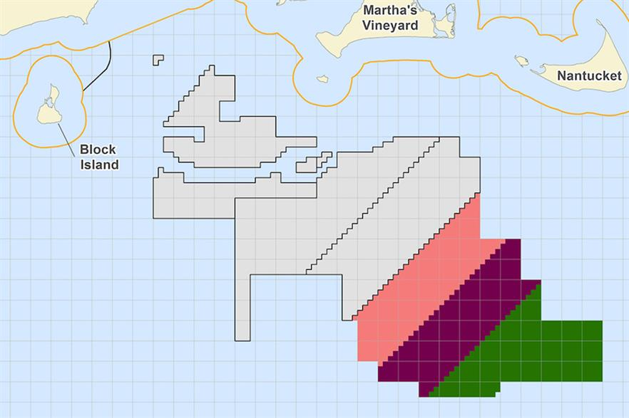 Mayflower Wind will be built in the purple lease area (pic credit: BOEM)