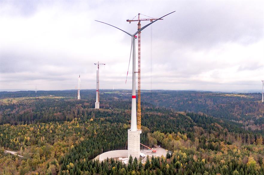 GE's wind and pumped-hydro hybrid storage site in Germany (pic: Max Bogl)