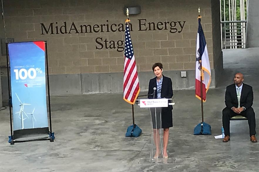 Iowa governor Kim Reynolds at MidAmerican's press conference with company CEO Adam Wright