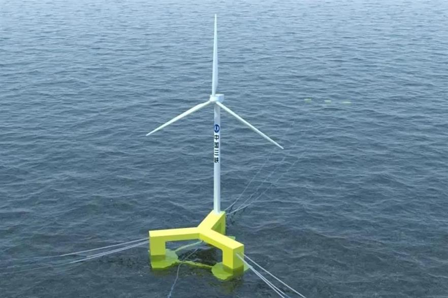 An artist's impression of what MingYang's MySE5.5MW turbine might look like on the semi-submersible platform