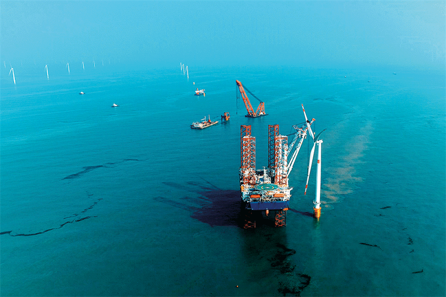 China has the most offshore wind capacity under construction (5.3GW), according to the WFO (pic credit: MingYang)