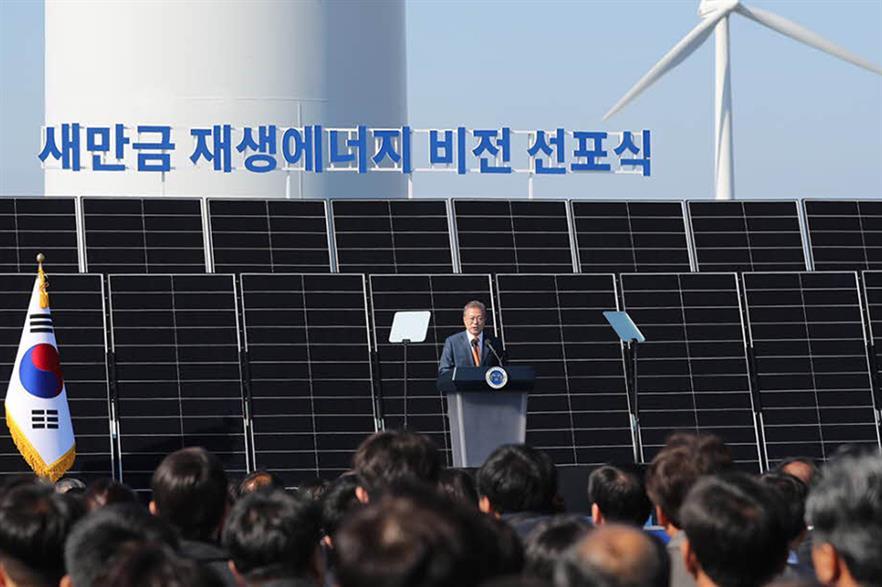 South Korean president Moon Jae-in announces plans for a 4GW wind-solar complex