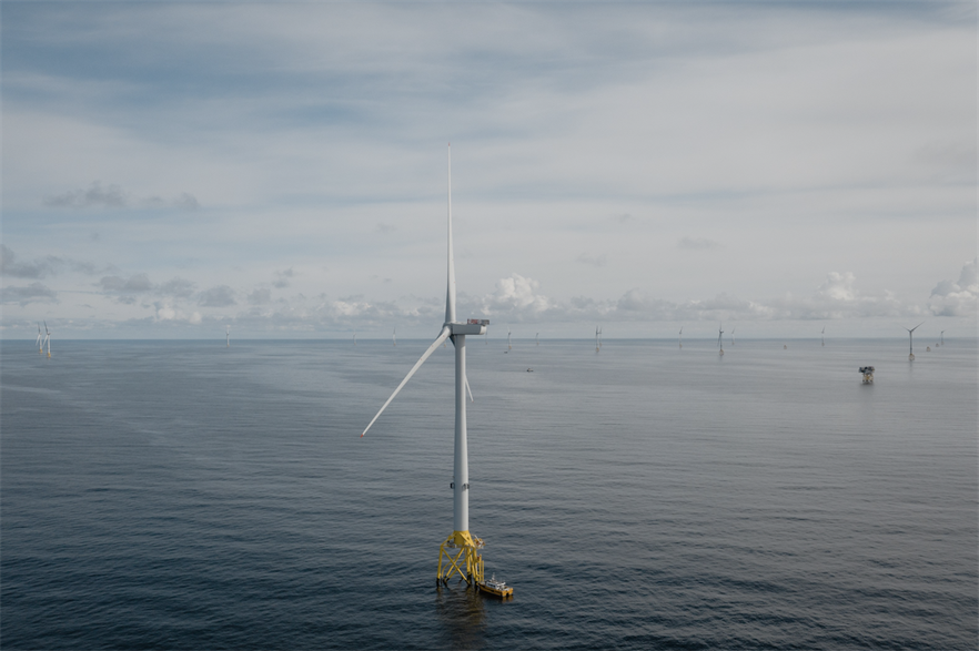 Turbines at Ocean Winds' under-construction Moray East wind farm off Scotland