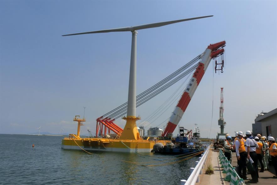 Ideol's 'Damping Pool' platform supporting a two-bladed turbine in Kitakyushu port, Japan (pic credit: Japanese Wind Power Association)