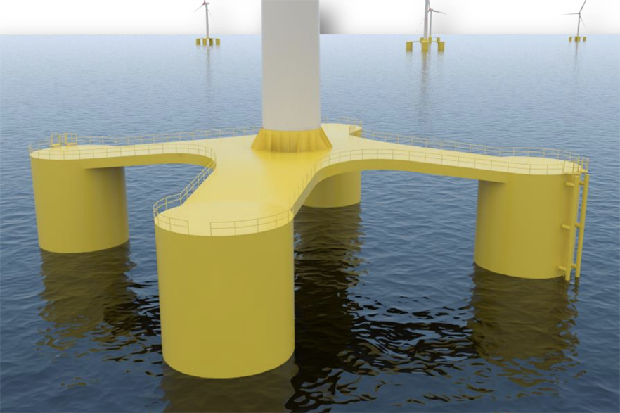 Nautilus has developed a semi-submersible steel structure to support a centrally-placed turbine