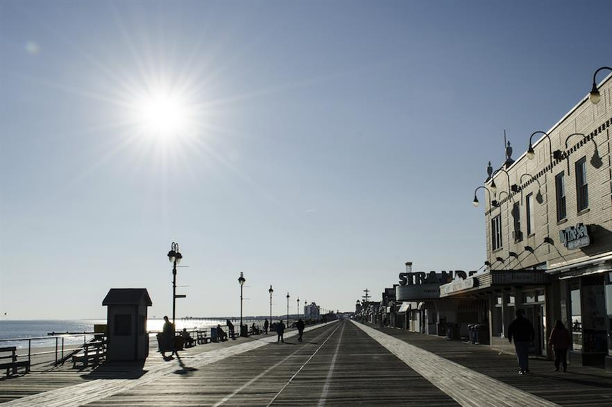 The New Jersey boardwalk by the Atlantic Ocean