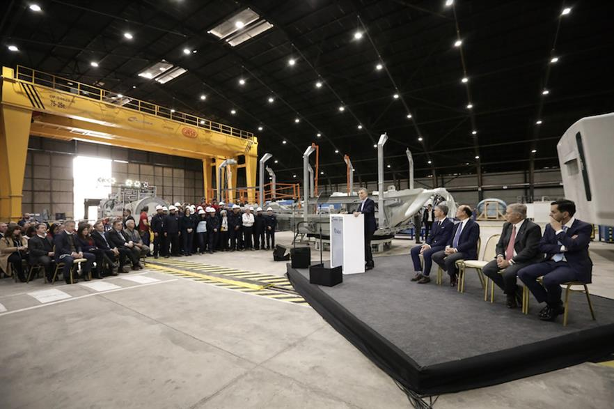 Fadea president Antonio Beltramone at the opening of Nordex's nacelle factory in Córdoba, Argentina