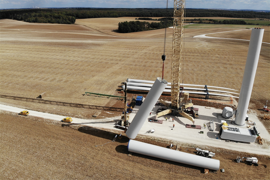 Installation of one of Nordex's N149/4.X turbines from its Delta platform
