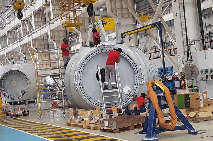 Hub assembly… Production workers at Nordex Group's Chennai facility