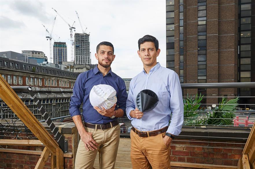 The O-Wind turbine was designed by Yaseen Noorani (left) and Nicolas Gonzalo Orellana Olguin from Lancaster University