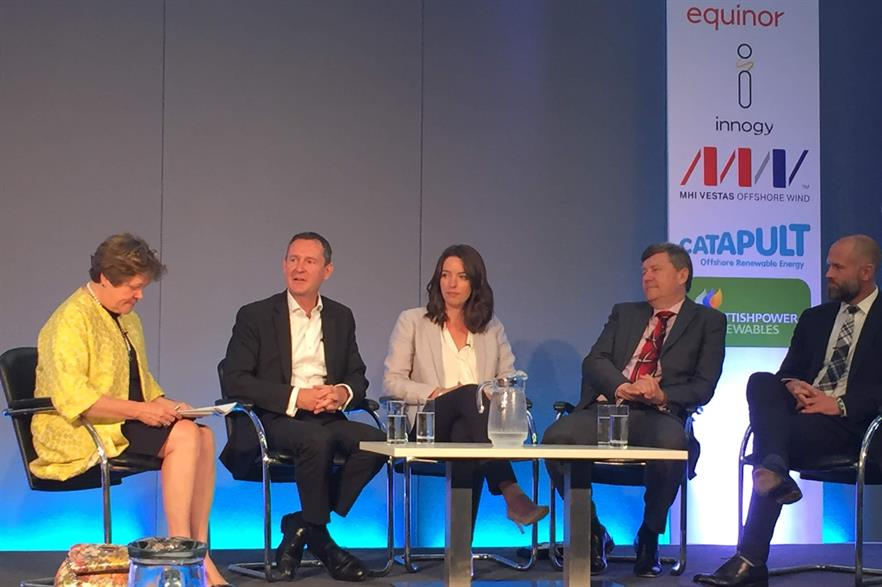 Left to right: Baroness Brown of Cambridge, Ørsted's Matthew Wright, Claire Spedding from the National Grid, Siemens Gamesa UK chief Clark MacFarlane, and Equinor's Hywind Scotland lead Sebastian Bringsværd