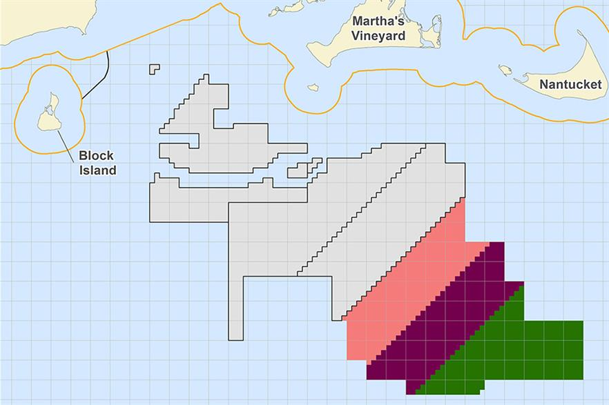 Three zones (pink, purple and green) will be auctioned off Massachusetts in December (pic: BOEM)