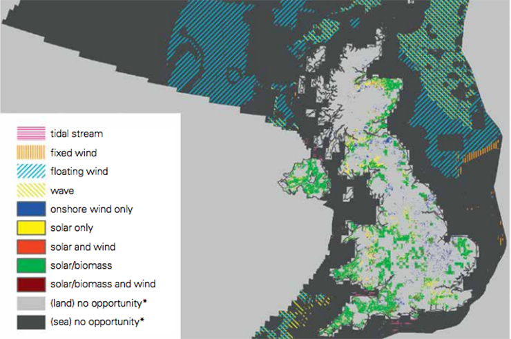 RSPB 2050 Energy Vision report mapped out potential areas for floating offshore wind project (blue stripes)