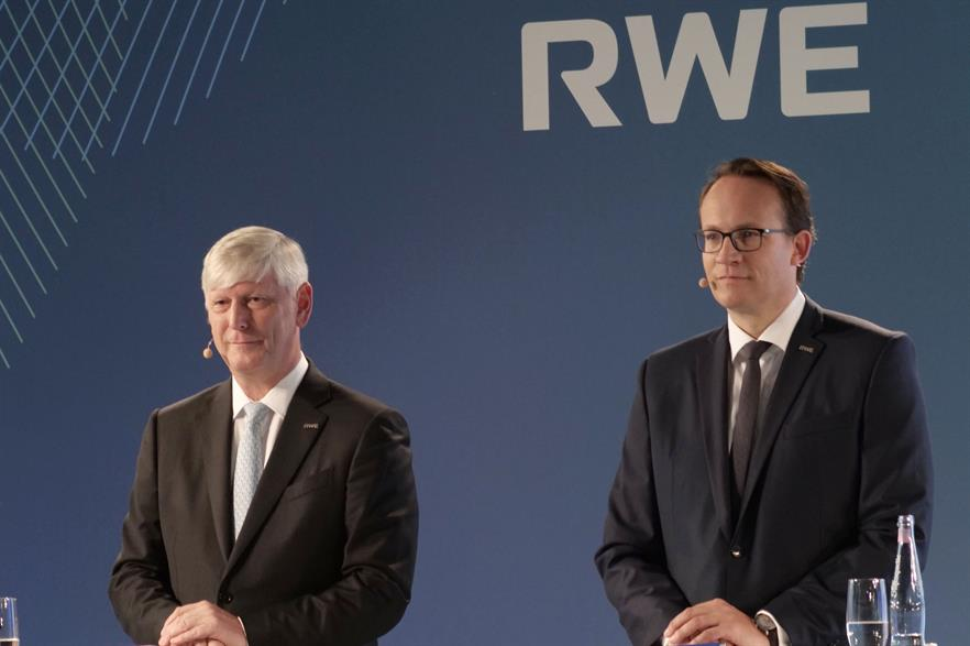 RWE chief executive Rolf Martin Schmitz (left) and CFO Markus Krebber outline the carbon neutral by 2040 strategy