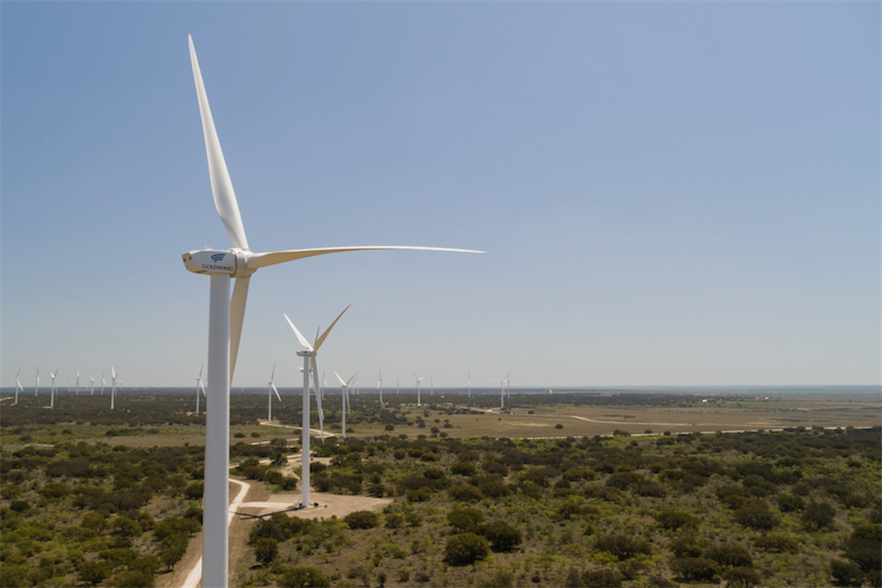 The Rattlesnake wind farm in Texas features 64 Goldwind GW109/2500 turbines