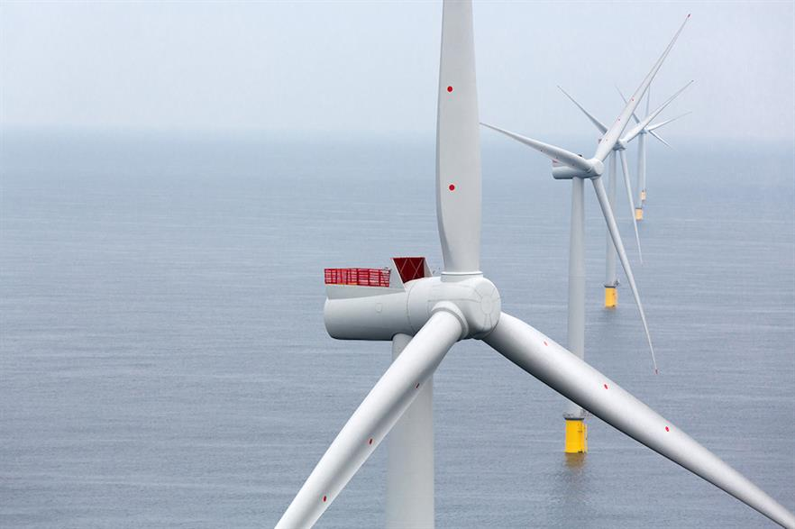 Siemens Gamesa's SWT-6.0-154 turbines at the Westermost Rough site off the coast of the UK