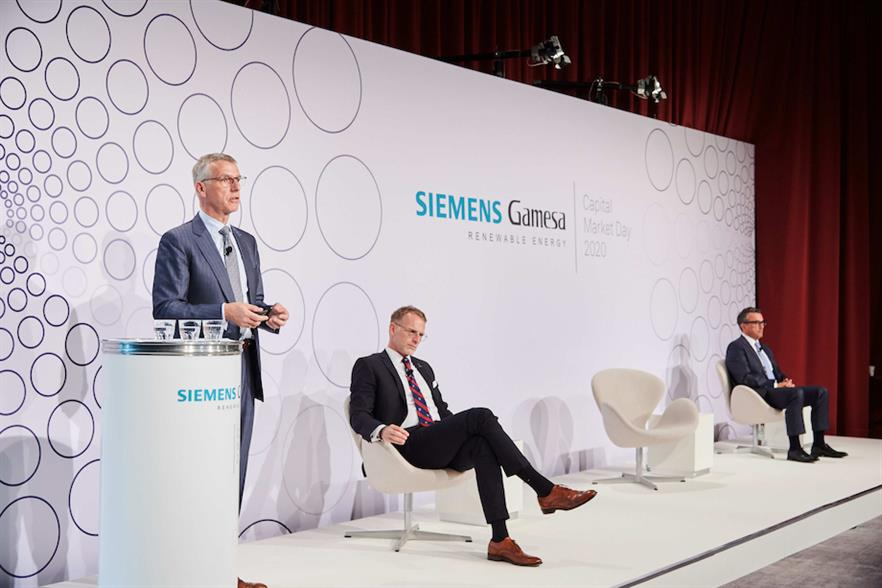 New Siemens Gamesa CEO Andreas Nauen speaking at the company's Capital Market Day