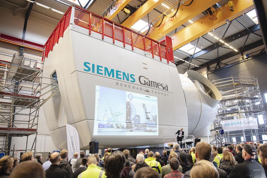 Siemens Gamesa unveiled the prototype nacelle at a ceremony at its factory in Brande