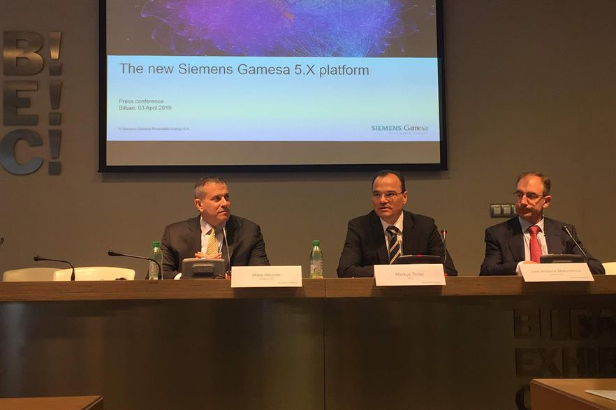 Announcing the 5MW platform (left to right): SGRE onshore and service CEO Mark Albenze, CEO Markus Tacke and onshore CTO Jose Antonio Malumbres