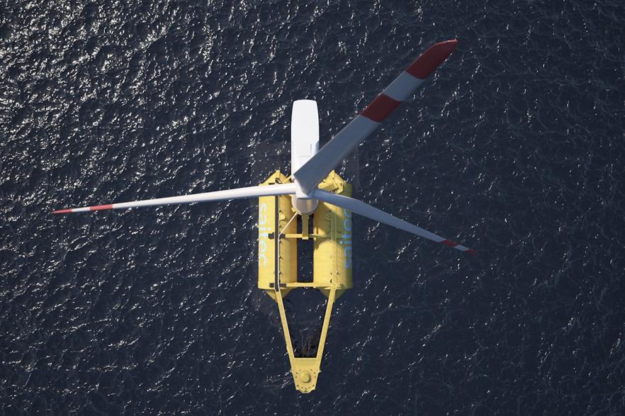 "Saitec's ""swinging around twin hull"" floating offshore wind platform"