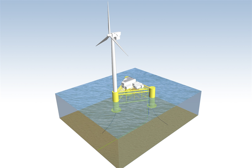 An artist's impression of what ERM's Dolphyn technology might look like on a floating offshore wind platform