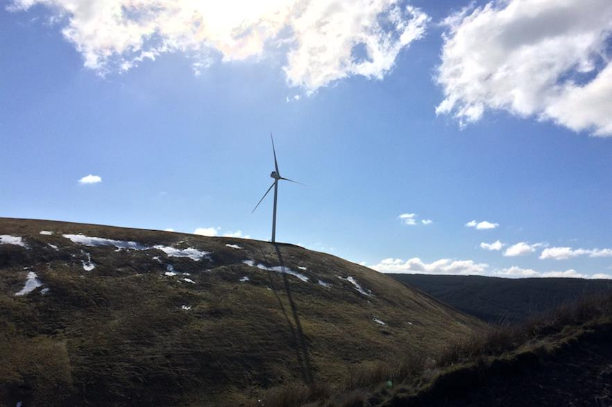 A 3.6MW Vestas turbine in operation at Sanquhar wind farm in Scotland (pic credit: Community Renewables)