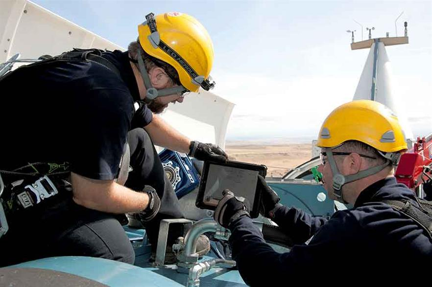 Technicians use tablets to access turbine data and communicate with the service centre while working on site (pic: Siemens)