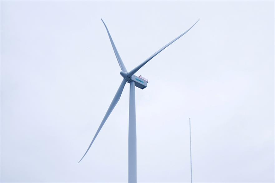 The project willl use Siemens 4MW turbines shown here in onshore testing