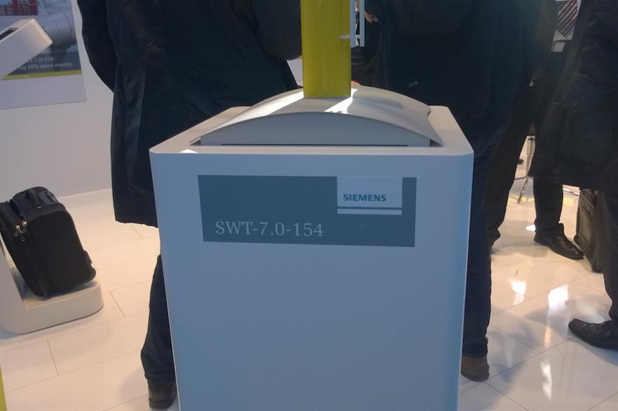 A model of Siemens 7MW turbine on display at EWEA Offshore 2015