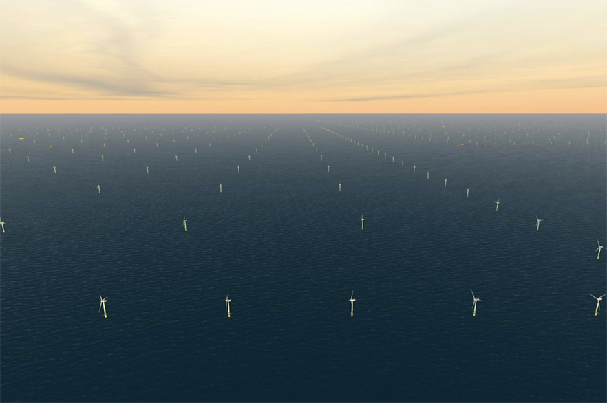 An artist's impression of what the 1.4GW Sofia offshore wind farm might look like