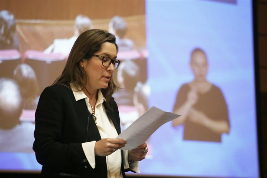 Energy minister María Fernanda Suarez announcing the results of the auction on 26 February