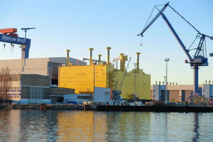 The Sylwin Alpha platform ready to sail at Rostock port