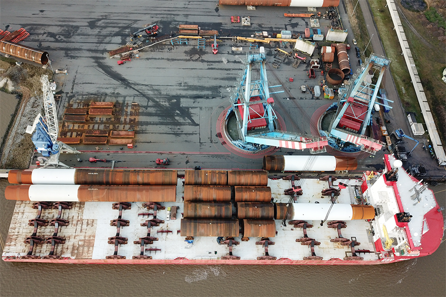 Monopiles and transition pieces for the Yunlin offshore wind farm off Taiwan, currently under construction (pic: Jumbo)
