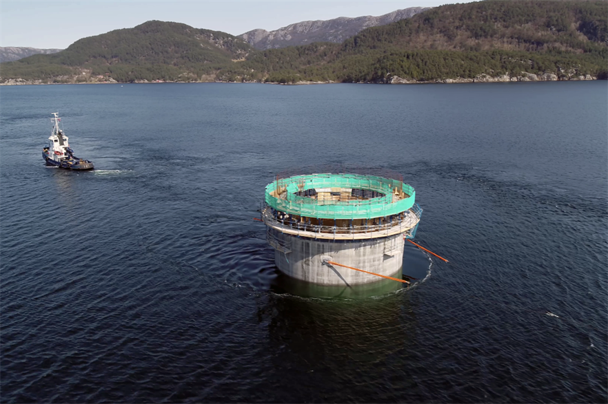 Eleven substructures are transported from the Aker Solutions yard at Stord to the deep-water site at Dommersnes (pic credit: Woldcam / Equinor ASA)
