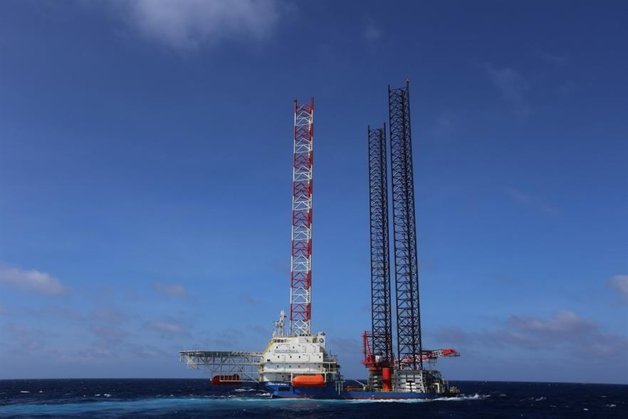 The wind turbine installation vessel Sheng Ping 001 was recently converted from the jack-up offshore construction vessel Teras Fortress 2 (above, pic credit: Teras Offshore)