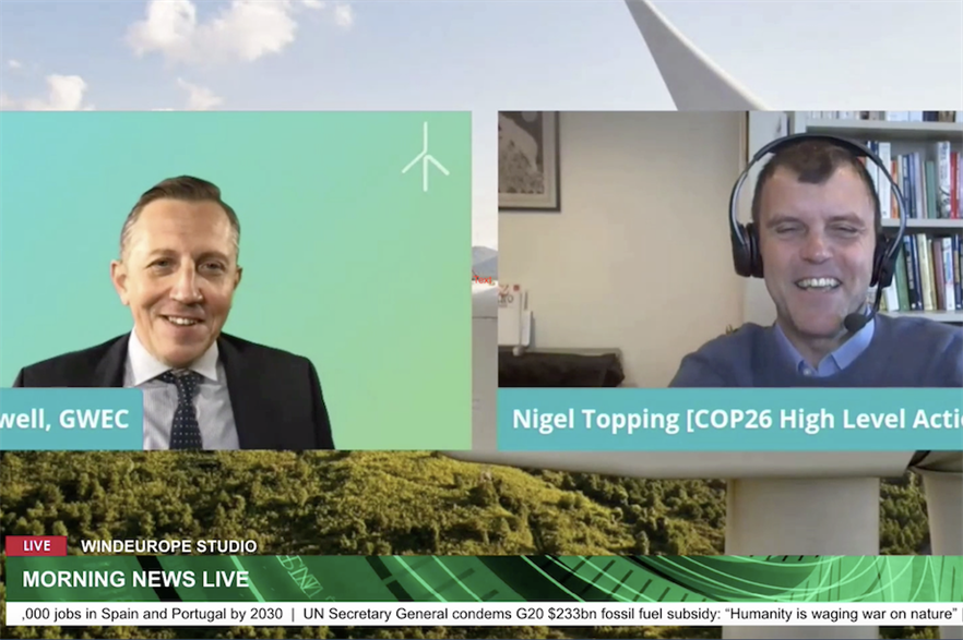 GWEC chief Ben Backwell interviewed COP26 climate champion Nigel Topping at the WindEnergy Hamburg 2020 conference