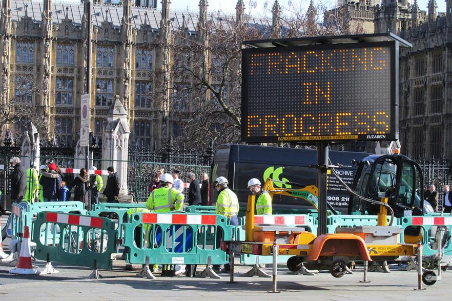 Greenpeace protest against fracking outside the UK's parliament in February 2016 (pic: David Holt)