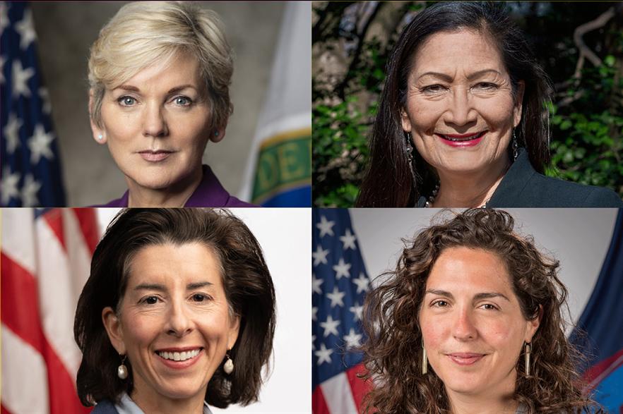 All the president's women: Jennifer Granholm, Deb Haaland, Amanda Lefton, Gina Raimondo (clockwise from top left)