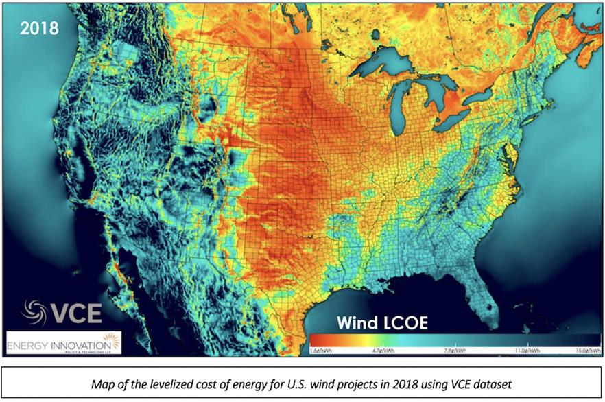 The levelised cost of energy for new US wind projects based on locational resource quality in 2018 (pic credit: Energy Innovation)