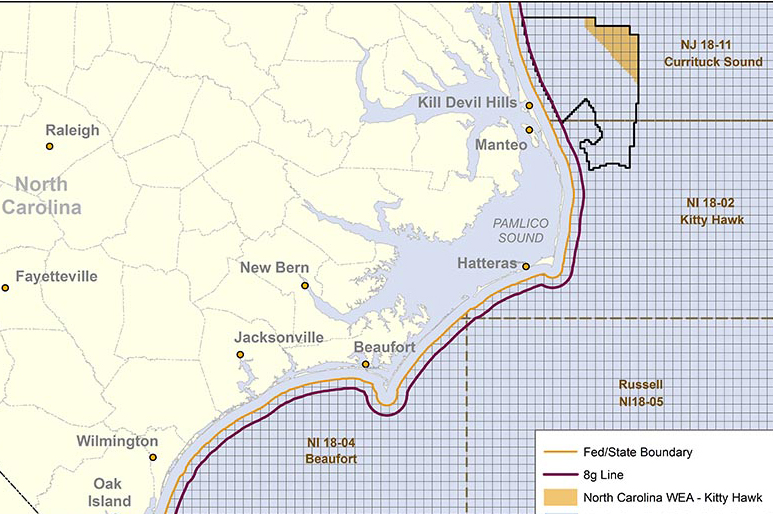 The Kitty Hawk zone (yellow) is located 44 kilometres off North Carolina's coast