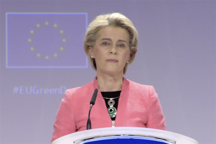 President of the European Commission Ursula von der Leyen unveiling the 'Fit for 55' package