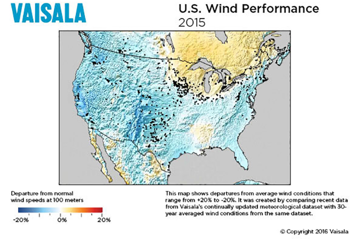 US wind performance from measurement firm Vaisala shows speeds were down on average in 2015