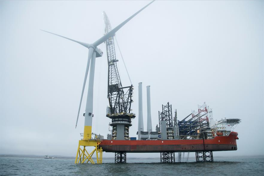 The first turbine was installed at Vattenfall's EOWDC on 9 April