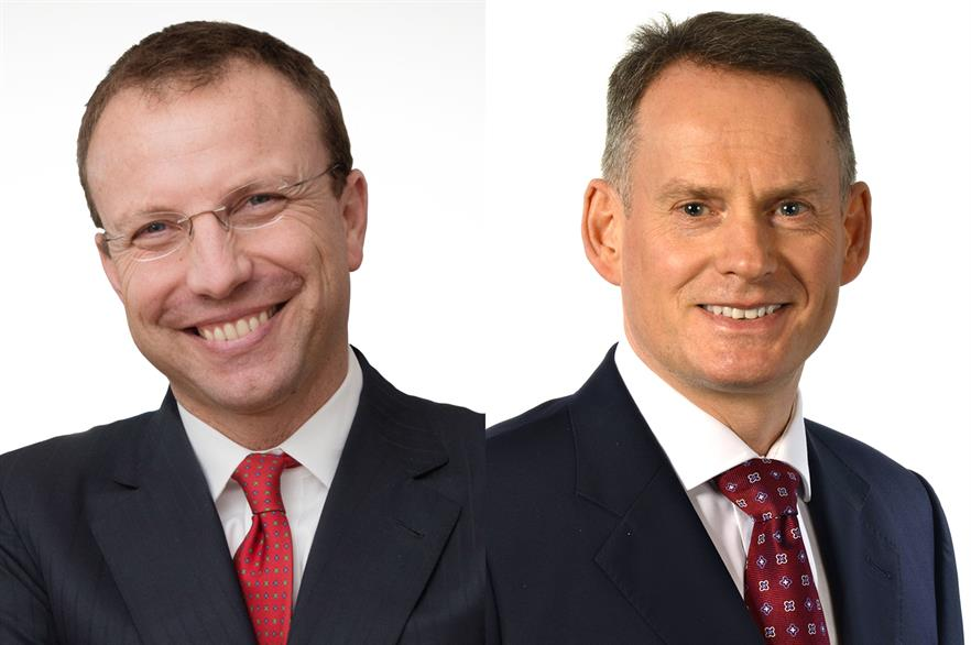Francesco Venturini (left) is being succeeded as WindEurope chair by Ivor Catto
